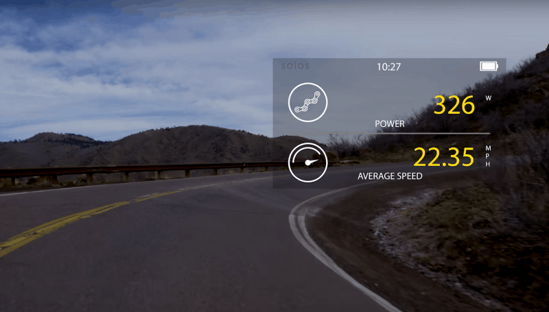 Solos Smart Glasses Display Example