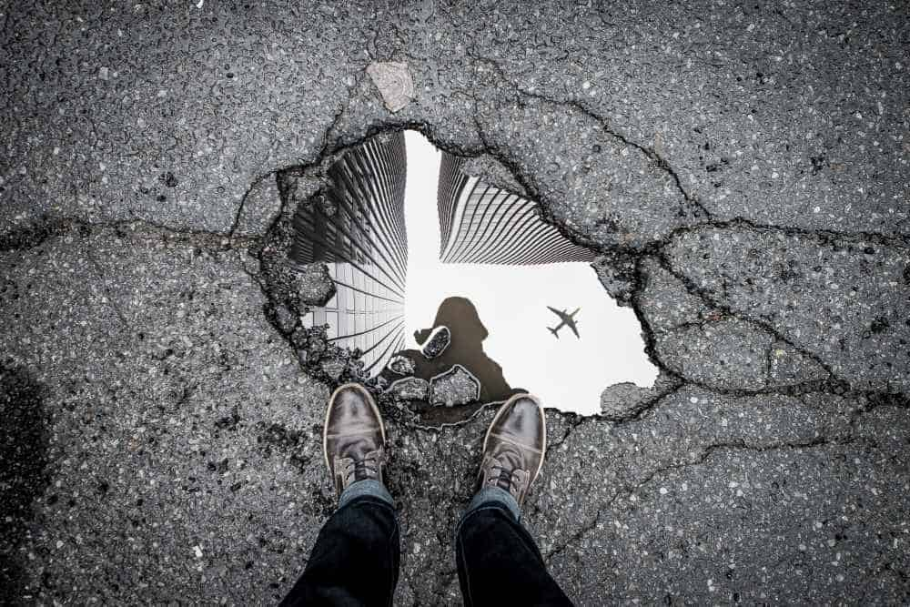 Reflection From Water In a Pothole