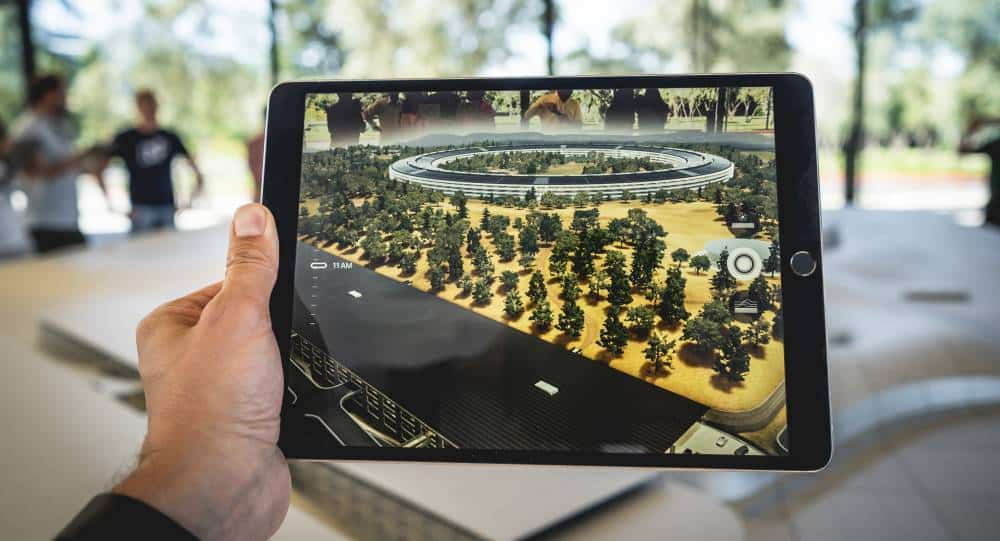 Man Using Tablet For Augmented Reality