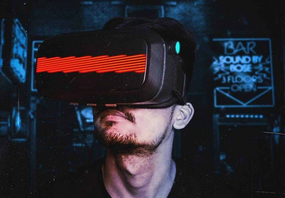 Mean Wearing VR Headset