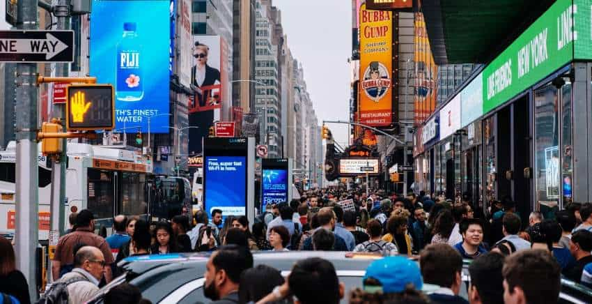Crowded and loud street - a place where alarm glasses could be beneficial.