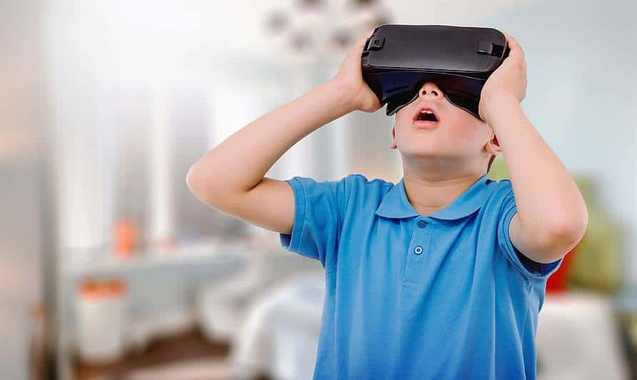 Child wearing a VR headset