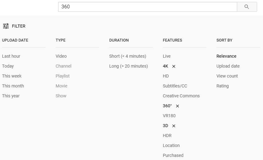 Youtube 360 3D filter
