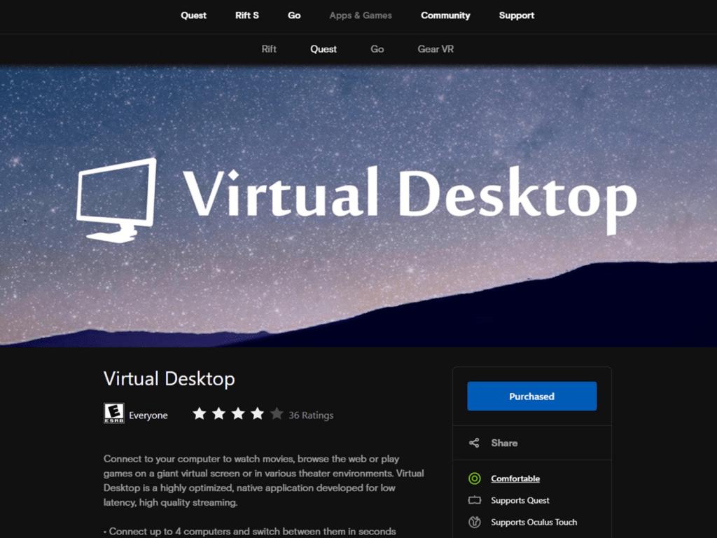 Virtual Desktop lets you play PC VR games wireless