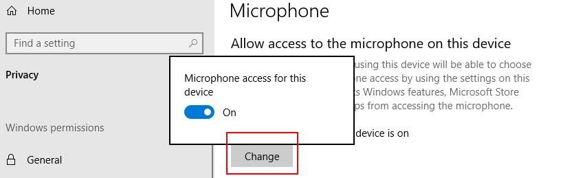 """Allow microphone access in Windows """"Microphone privacy settings"""""""