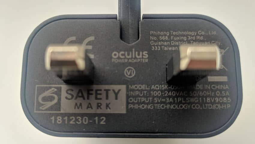 Oculus Quest 1 Power Adapter - Charger Specs