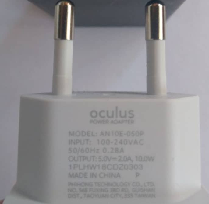 Oculus Quest 2 Power Adapter - Charger Specs